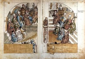 Chronique du concile de Constance d'Ulrich Richental : réunion des savants, évêques, cardinaux et de Jean XXIII (antipape) dans la cathédrale de Constance. Photo : Wikimédia