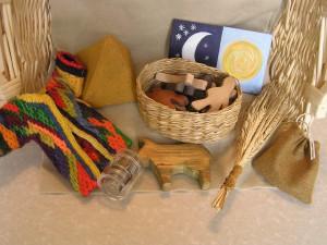 Le matériel pour raconter l'histoire de Joseph . Photo : www.goldlyplay.uk